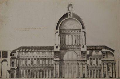 Ecole française du XVIIIème siècle. Coupe...