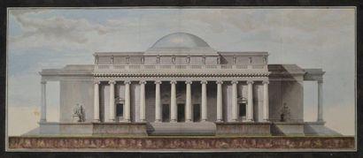 Ecole néoclassique. Projet de temple. Plume...