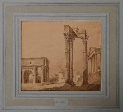 Hippolyte LEBAS (Paris 1812 - 1880) Le temple...