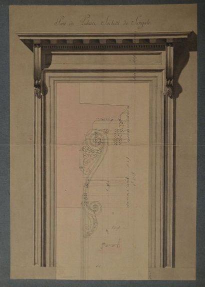 Ecole française du XVIIIème siècle. La porte...