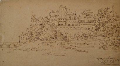 Ecole française du XVIIème siècle. Vue d'une...