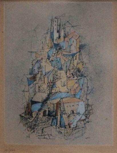 Otto WOLS (1913-1951) Village perché. Estampe...
