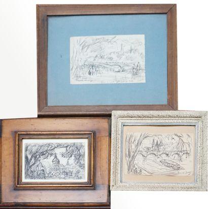 FRANK-BOGGS (1855-1926). Paris. Trois dessins....