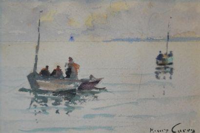 Henry CARON (1860-1941) Barques de pêcheurs....