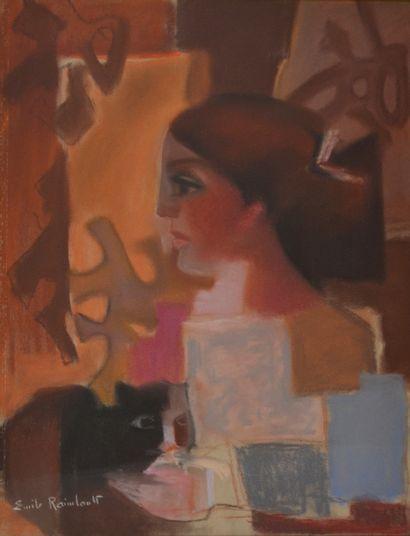 Emile RAIMBAULT, XXe. Femme de profil, 1938....