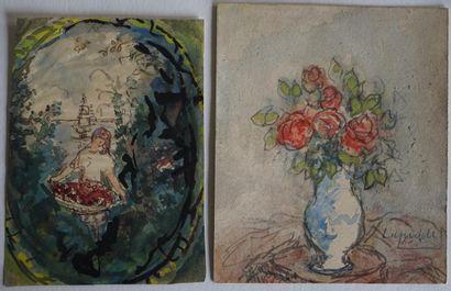 Pierre LAPRADE (1875-1931/32) Vase de roses....