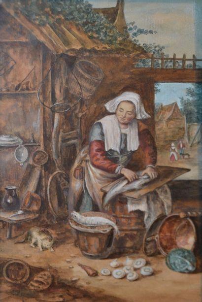 Ecole du XIXe dans le goût du XVIIe hollandais....