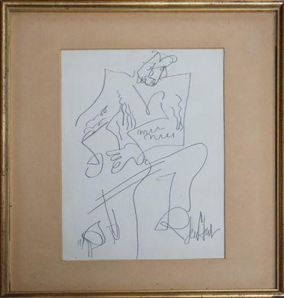 GEN PAUL (1895-1975). Homme agenouillé. Dessin...