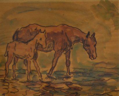 Jean PESKÉ (1870-1949) (Attribué à) Jument...