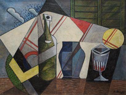 Bela DE KRISTO (1920-2006). Composition cubiste...