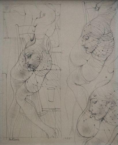 Hans BELLMER (1902-1975) Corps et trois têtes...