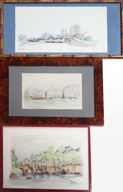 Fernand HERBO (1905-1995) .Trois aquarelles,...