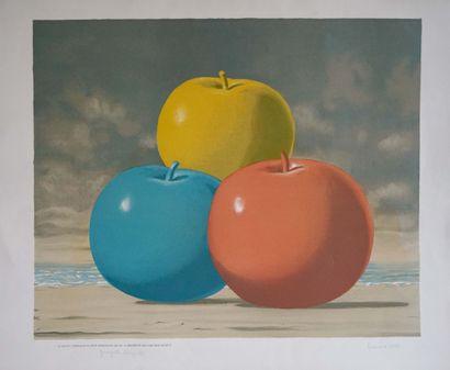 René MAGRITTE (1898-1967) Trois pommes. Lithographie...