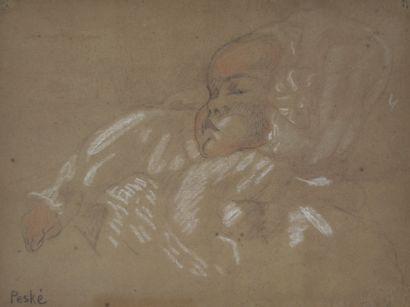 Jean PESKÉ (1870-1949) Enfant endormi. Fusain...