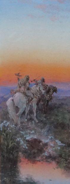 Paul PASCAL (1832-1903). La chasse au faucon....