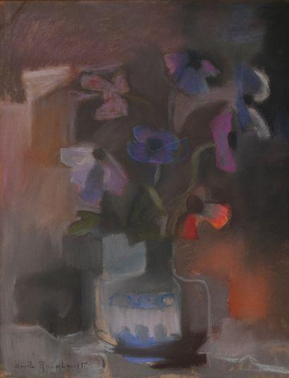 Emile RAIMBAULT, XXe. Vase de fleurs, 1936....