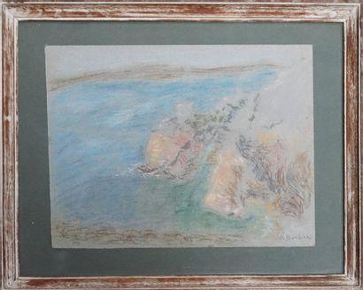 André BARBIER (1883-1970). Falaise. Pastel...