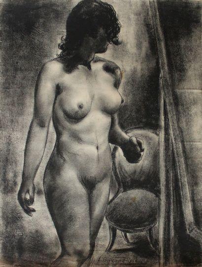 Auguste DURAND-ROSÉ (1887-1962) Nu à la chaise....