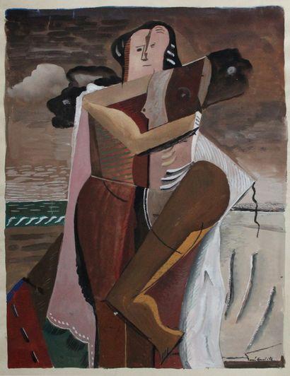 René GUIETTE (1893-1976). Couple cubisant....