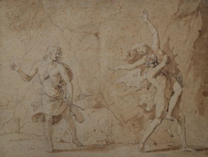Ecole flamande du XVIIème siècle Orphée sortant...