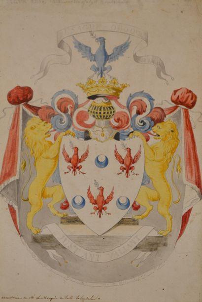 Ecole française XIXe. Armoiries du Marquis...