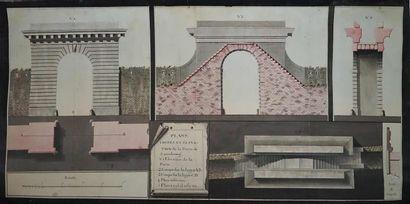 Ecole française du XVIIIe. Plan, coupe et...