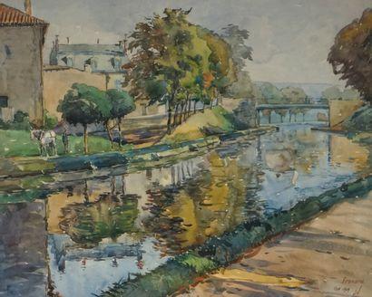 FRONARD, XIXe-XXe. Bord de rivière animé....