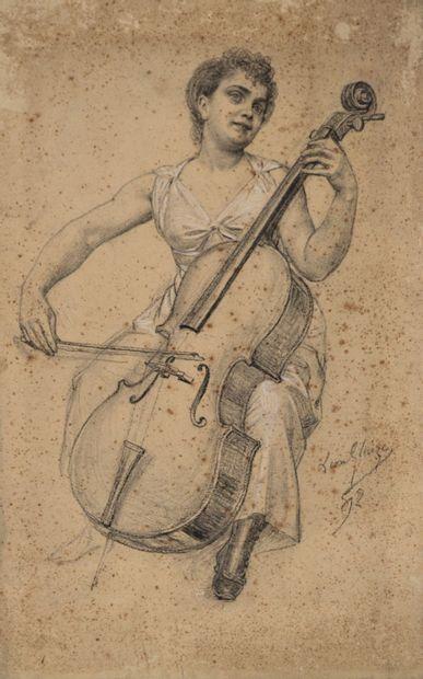 Paul Léon GLAIZE (1842-1932) La violoncelliste,...