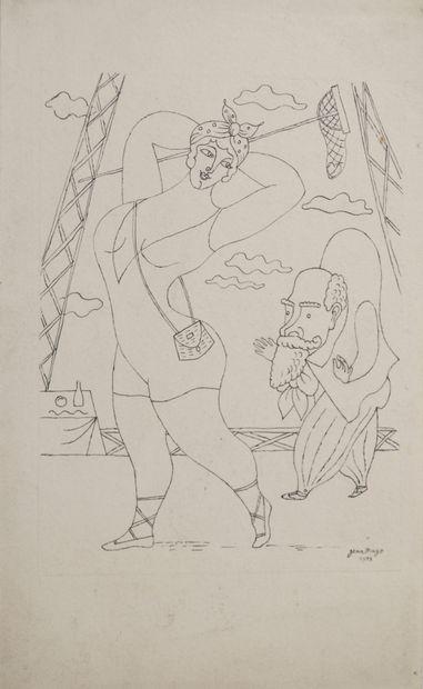 Jean HUGO (1894-1984) Baigneuse et bossu....