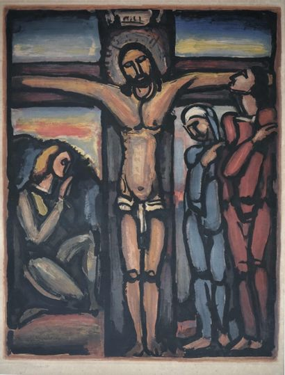 Georges ROUAULT (1871-1958) Christ en croix,...
