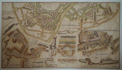 Ecole française XVIIIe. Plan de ville fortifiée,...