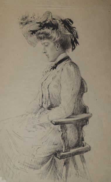 Ecole française fin XIXe. Elégante assise....