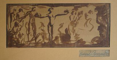 Joseph BERNARD (1864-1933) Frise de personnages....