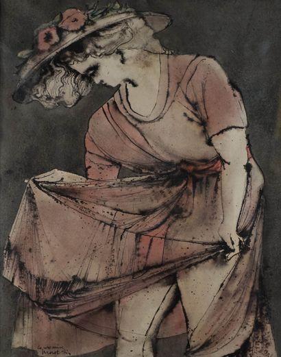 Gérard MOROT-SIR (1931-2003) La robe mauve....