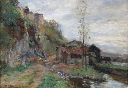 Edmond Marie PETITJEAN (1844-1925) Moulin...