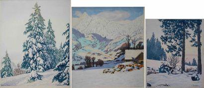 Paul LESCHHORN (1876-1952) Chalet enneigé,...