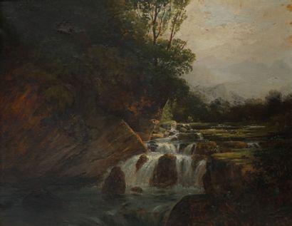 Ecole française XIXe. Torrent, 1844. Huile...