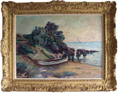 Armand GUILLAUMIN (1841-1927) Barque et rocher...