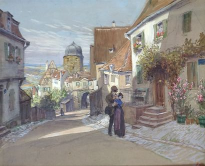 Paul HEY (1867-1952) Les amoureux du village....
