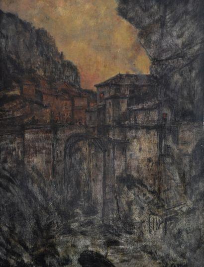Charles COTTET (1863-1925) Pont au crépuscule....