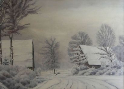 Paul LESCHHORN (1876-1952) Village enneigé....