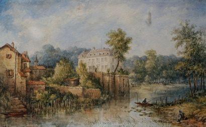 Ecole française fin XIXe. Barque de pêcheur...
