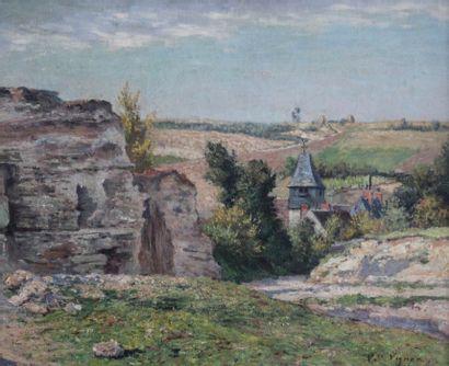 Victor VIGNON (1847-1909) L'église d'Hédouville....