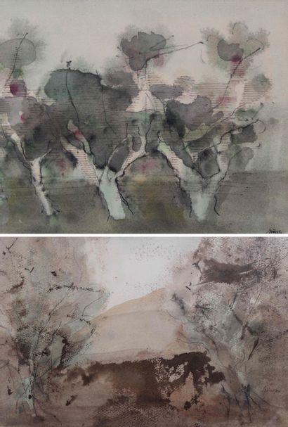 Ferdinand SPRINGER (1907/08-1998) Trois arbres,...