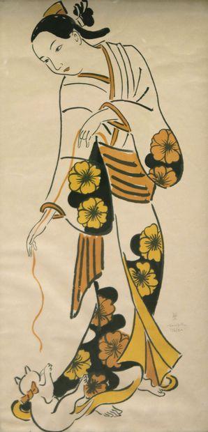 Tsuguharu FOUJITA (1886-1968) Geisha jouant...