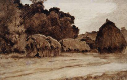 Pierre Ernest PRINS (1838-1913) Meules, vers...