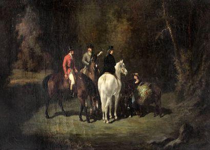 Ecole française XIXe. Discussion entre cavaliers...