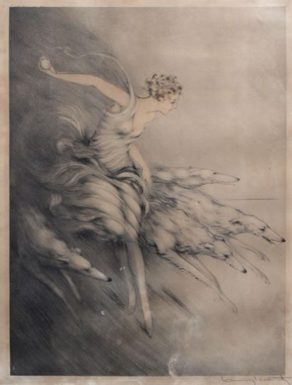 Louis ICART (1888-1950) Femme lançant une...