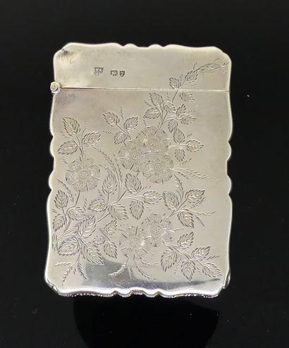 ETUI à cartes en argent guilloché de fleurs....