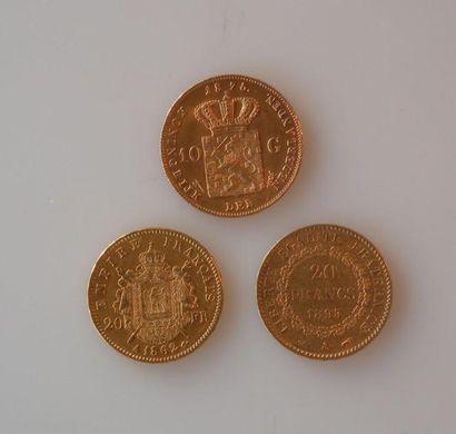 TROIS PIECES d'or: une pièce de 10 florins...
